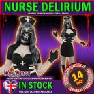 Halloween Fancy Dress # Ladies Delirium Nurse Black Dress Small 8-10